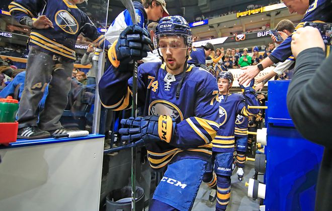Buffalo Sabres' Rasmus Asplund makes his way to pregame prior to playing the Calgary Flames at KeyBank Center on Wednesday, Nov. 27, 2019. (Harry Scull Jr./Buffalo News)