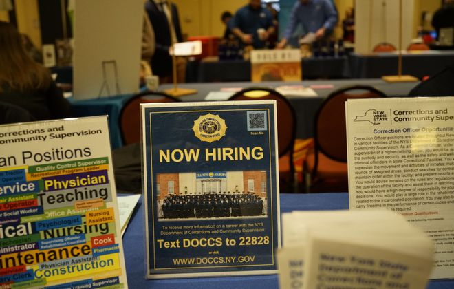 Representatives from 96 employers look for candidates to fill jobs at the Western New York Career & Internship Fair in January. (Derek Gee/Buffalo News)