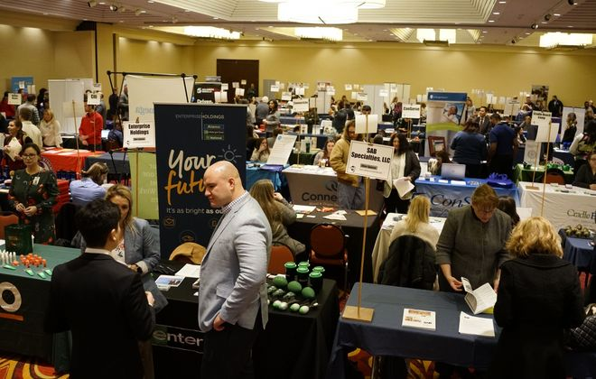Representatives from 96 employers look for candidates to fill jobs at the Western New York Career & Internship Fair earlier this month. (Derek Gee/Buffalo News)