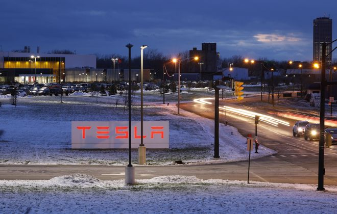 The company said last summer there were around 800 people working at the South Park Avenue plant, either for Tesla or its partner, Panasonic. (Derek Gee/Buffalo News)