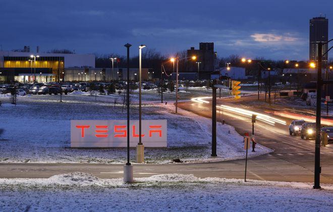The Tesla factory at RiverBend. (Derek Gee/Buffalo News)