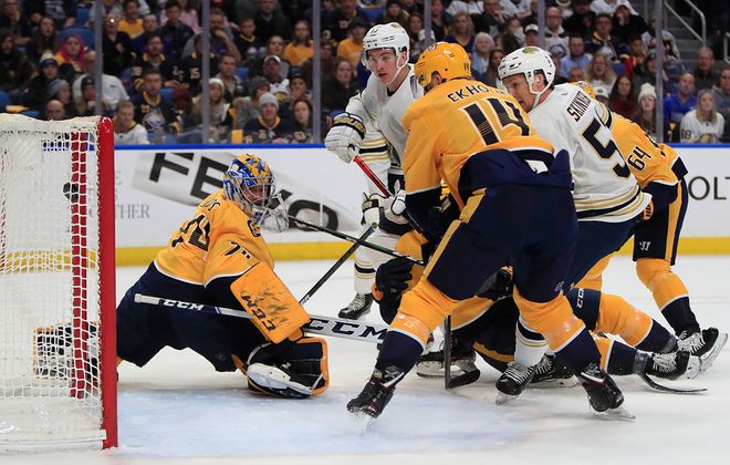 Sabres forward Jimmy Vesey scored against the Predators during their Dec. 12, 2019, game vs. Nashville in KeyBank Center. (Harry Scull Jr./News file photo)