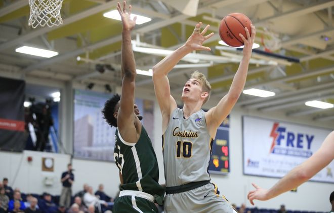 Canisius College player Jacco Fritz shoots against Manhattan during the first half at the Koessler Center, Friday, Jan. 3, 2020. (Harry Scull Jr./Buffalo News)