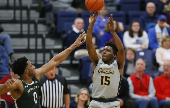 Canisius College player Majesty Brandon shoots against Manhattan during the first half at the Koessler Center, Friday, Jan. 3, 2020. (Harry Scull Jr./Buffalo News)