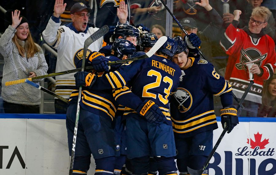 Buffalo Sabres celebrate the first goal of the game  during the game between the Florida Panthers and the Buffalo Sabres at Keybank Center. This was on Saturday, Jan. 4, 2020. (Robert Kirkham/Buffalo News)