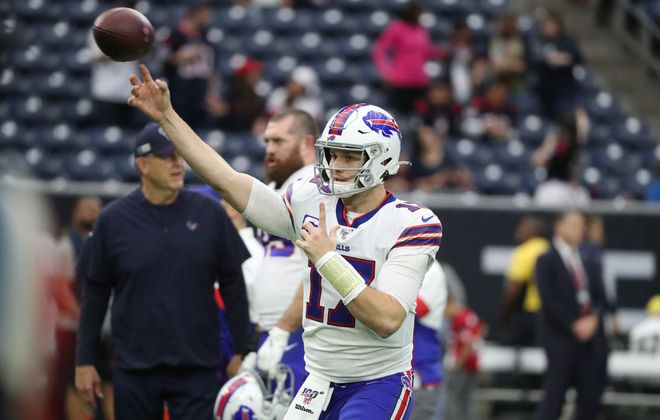 Buffalo Bills quarterback Josh Allen (17) throws a pass during pregame warmups Jan. 4 at NRG Stadium in Houston. (James P. McCoy/News file photo)