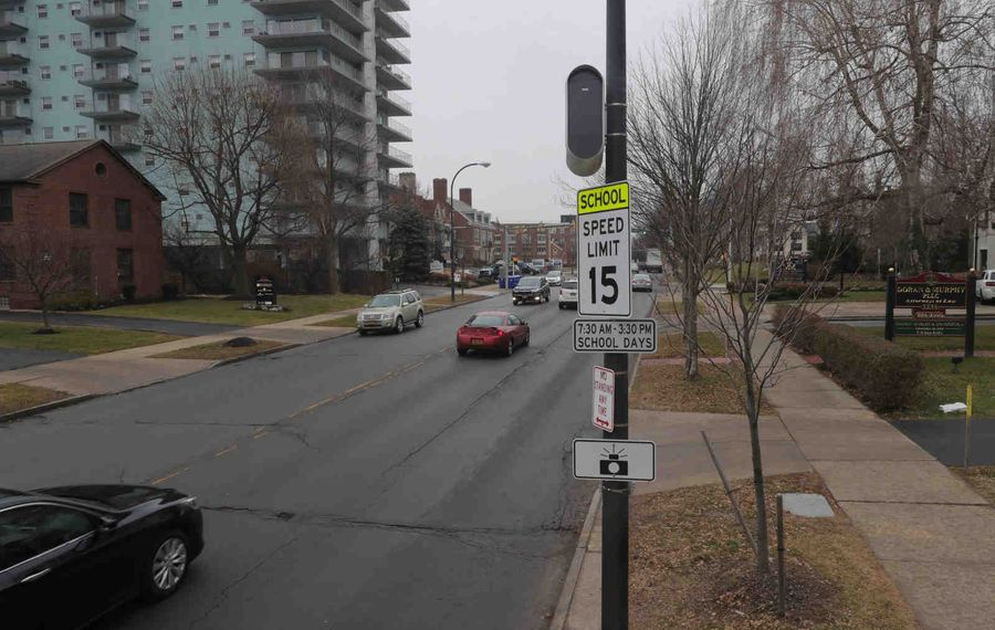Speed zone cameras will be turned on starting Monday in Buffalo this one is located on  in Delaware Ave by Canisius High School, in Buffalo, on Friday, January 3, 2020. The state last year approved up to 20 school zone camera zones to slow traffic around schools. Violators will get a $50 fine.  (John Hickey/Buffalo News)