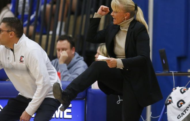 Clarence assistant boys basketball coach Denise Ianello coaches the team against  Frontier at Frontier High School on Jan. 6. (Harry Scull Jr./Buffalo News)