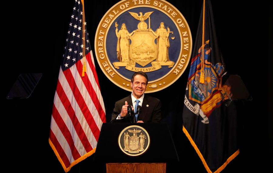 The New York State Governor Andrew Cuomo gives the State of the State Wednesday in Albany. (Mark Mulville/Buffalo News)