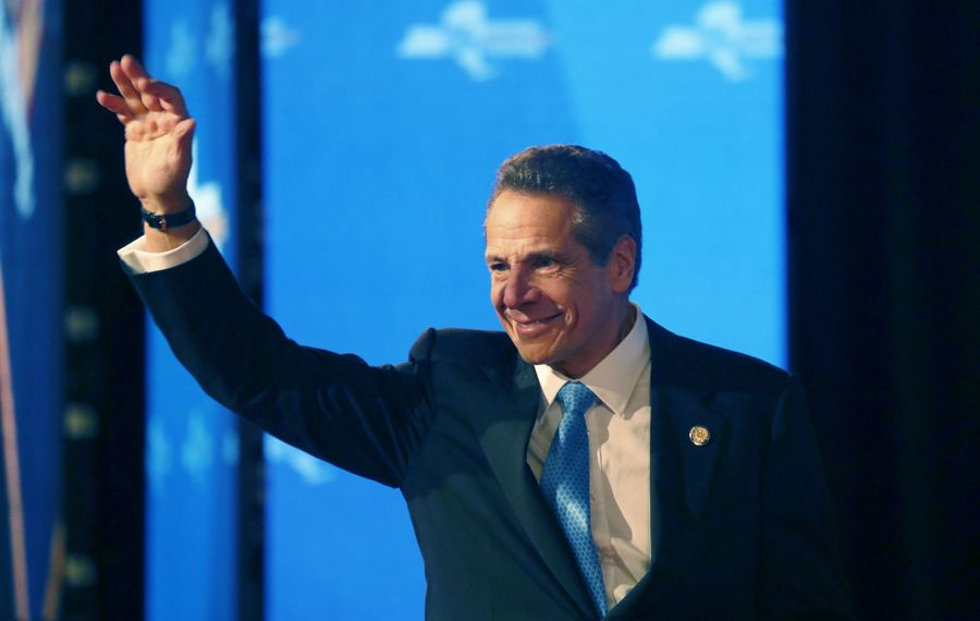 New York State Gov. Andrew Cuomo waves to those gathered to hear his State of the State address in Albany, N.Y. Wednesday, January 8, 2020.        (Mark Mulville/Buffalo News)