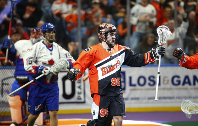 Buffalo Bandits player Chase Fraser celebrates his goal against the Toronto Rock during the first half at the KeyBank Center Saturday (Harry Scull Jr./Buffalo News)