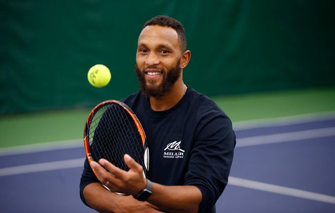 Marcus Fugate, the head tennis pro at Miller Tennis Center and City Tennis Champion. (Harry Scull Jr./Buffalo News)