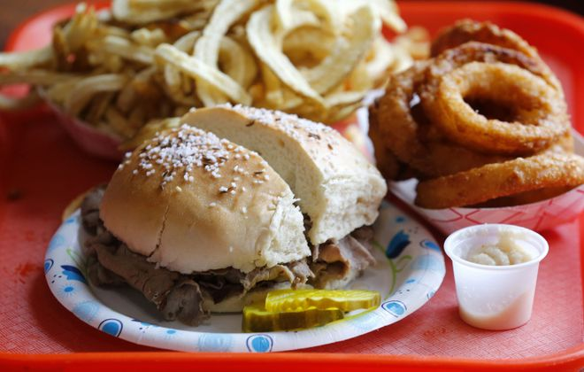 The roast beef on weck from Steve's. (Mark Mulville/Buffalo News)
