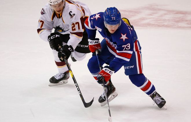 Rochester Amerks center Casey Mittelstadt skates with the puck against the Cleveland Monsters during the second period at the Blue Cross Arena, Friday, Jan. 17, 2020. (Harry Scull Jr./Buffalo News)