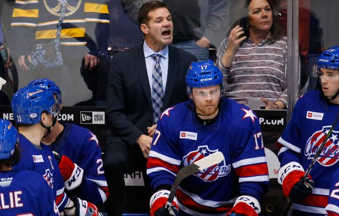 Rochester Amerks coach Chris Taylor argues a penalty call during the third period against the Cleveland Monsters at the Blue Cross Arena, Friday, Jan. 17, 2020. (Harry Scull Jr./Buffalo News)