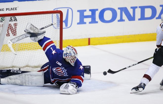 Rochester Amerks goaltender Ukko-Pekka Luukonen gives up a shootout goal for the game winner to Cleveland Monsters Markus Hannikainen at the Blue Cross Arena, (Harry Scull Jr./Buffalo News)