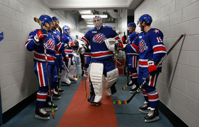 Rochester Amerks goaltender Ukko-Pekka Luukkonen makes his way to pregame prior to playing the Cleveland Monsters at the Blue Cross Arena on Friday, Jan. 17, 2020. (Harry Scull Jr./Buffalo News)