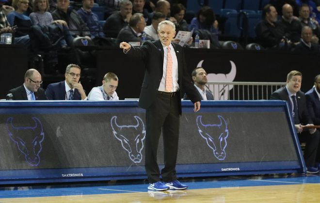 UB's head coach Jim Whitesell calls in a play from the bench in the first half at Alumni Arena in Amherst,NY, Jan. 21, 2020. (James P. McCoy/Buffalo News)