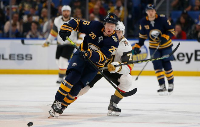 Buffalo Sabres defenseman Rasmus Dahlin passes to the goaltender against the Vegas Golden Knights during the second period at the KeyBank Center, Tuesday, Jan. 14, 2020. (Harry Scull Jr./Buffalo News)