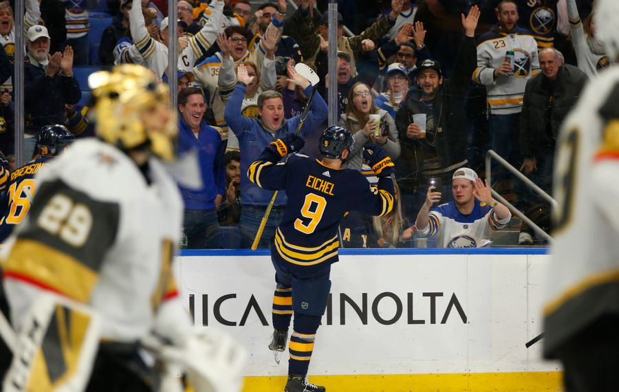 Sabres fans in KeyBank Center give it up to Jack Eichel as he celebrates his goal against Vegas Golden Knights goalie Marc-Andre Fleury in the third period Tuesday. (Harry Scull Jr./Buffalo News)