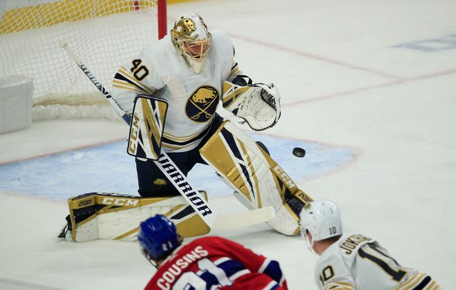 Buffalo Sabres goaltender Carter Hutton makes a save against the Montreal Canadiens during the first period at the KeyBank Center, on Thursday, Jan. 30, 2020. (Harry Scull Jr./Buffalo News)