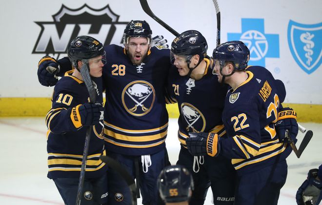 Buffalo Sabres forward Zemgus Girgensons (28) celebrates his goal in the third period at Key Bank Center in Buffalo, NY on Saturday, Jan. 11, 2020.  James P. McCoy/Buffalo News