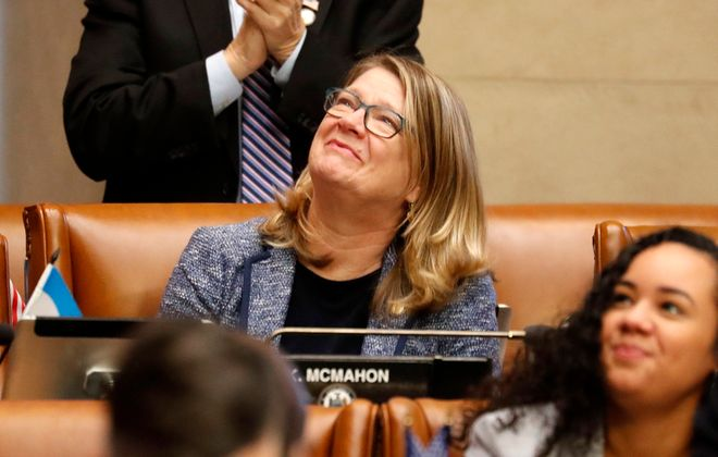State Assemblywoman Karen McMahon in the chambers at the State Capitol building in Albany, N.Y. Thursday, January 9, 2020.        (Mark Mulville/Buffalo News)