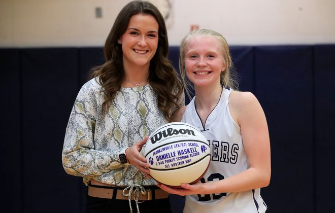Franklinville basketball player Danielle Haskell, right, passed former Randolph star Mckenna Maycock for No. 1 on the Western New York girls basketball all-time scoring list Friday night. (Harry Scull Jr./Buffalo News)
