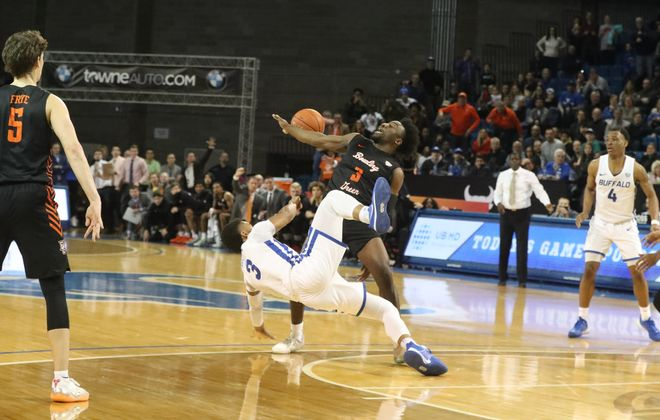 Buffalo Bulls guard Jayvon Graves (3) has his shot blocked in the last second of the game by Bowling Green Falcons guard Caleb Fields (3) in the second half at Alumni Arena on Friday, Jan. 31, 2020. (James P. McCoy/Buffalo News)