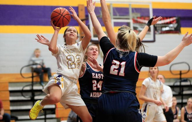 Springville guard Ivette Lewandowski shoots against East Aurora during action at Springville Griffith Institute , on Wednesday, Jan. 29, 2020. (Harry Scull Jr./Buffalo News)