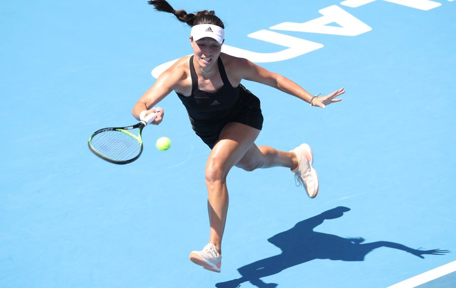Jessica Pegula plays a forehand in her semifinal match against  Caroline Wozniacki of Denmark during day six of the 2020 Women's ASB Classic in Auckland, New Zealand Saturday. (Getty Images)