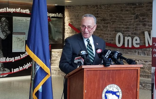 Sen. Charles E. Schumer holds a news conference in the Niagara Falls train station Jan. 13, 2020. (Thomas J. Prohaska/The Buffalo News)