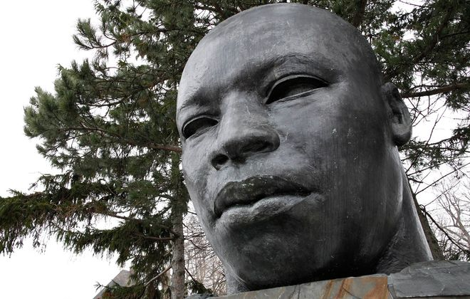 Martin Luther King Jr. Park features a statue honoring the civil rights figure who will be remembered at an event Thursday at the Central Library. (Derek Gee/News file photo)