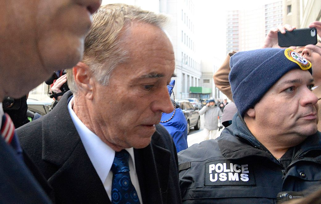 Former Rep. Chris Collins arrives at Federal District Court in Manhattan Friday to be sentenced on charges of insider trading.  (Jefferson Siegel/Special to The News)