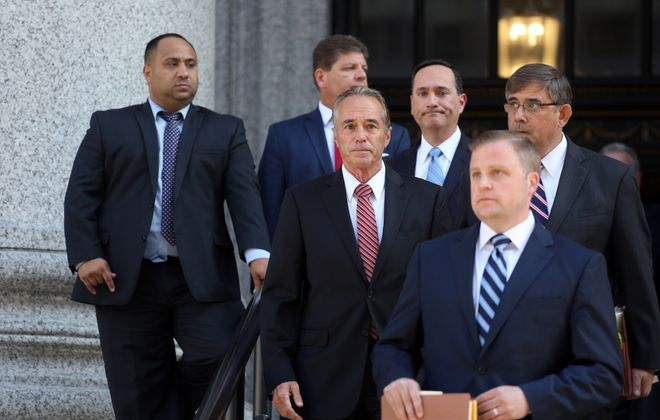 Chris Collins leaves Federal District Court in Manhattan after pleading guilty to insider trading on Oct. 1, 2019. (Jefferson Siegel/Special to The News)