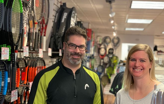 Co-managers Phil Primerano and Lisa Noworyta bring a combined 40 years of experience in racket sports into the new Courtside Outfitters in Williamsville, the same site as their former jobs at JB's Tennis Shop. New owner Jim Shunk has revamped the business and changed the name. (Scott Scanlon/Buffalo News)