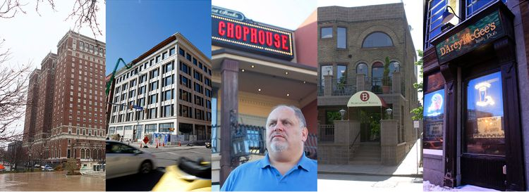 Five of the properties Mark Croce owned in Buffalo, from left: Statler City; the Curtiss Hotel; the Buffalo Chophouse; 297 Franklin Ave., once the Brownstone Bistro; and D'Arcy McGee's Irish Pub. (News file photo)
