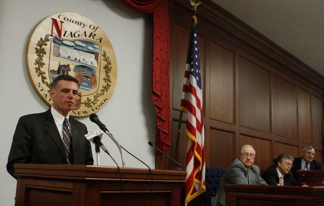 Anthony J. Restaino addresses the Niagara County Legislature on April 20, 2010. (John Hickey/News file photo)