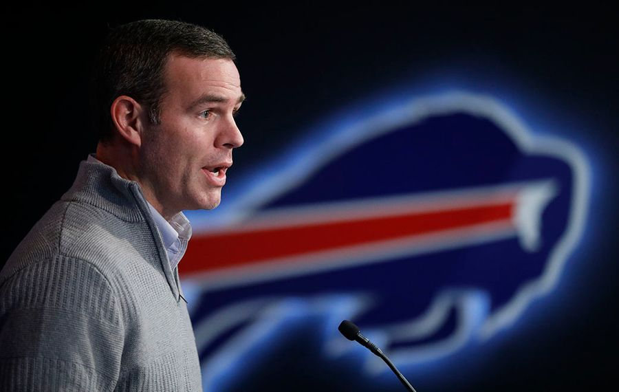 Buffalo Bills General Manager Brandon Beane addresses the media during a press conference at One Bills Drive (Derek Gee/Buffalo News file photo)