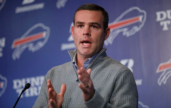Buffalo Bills General Manager Brandon Beane addresses the media in January. (Derek Gee/Buffalo News)