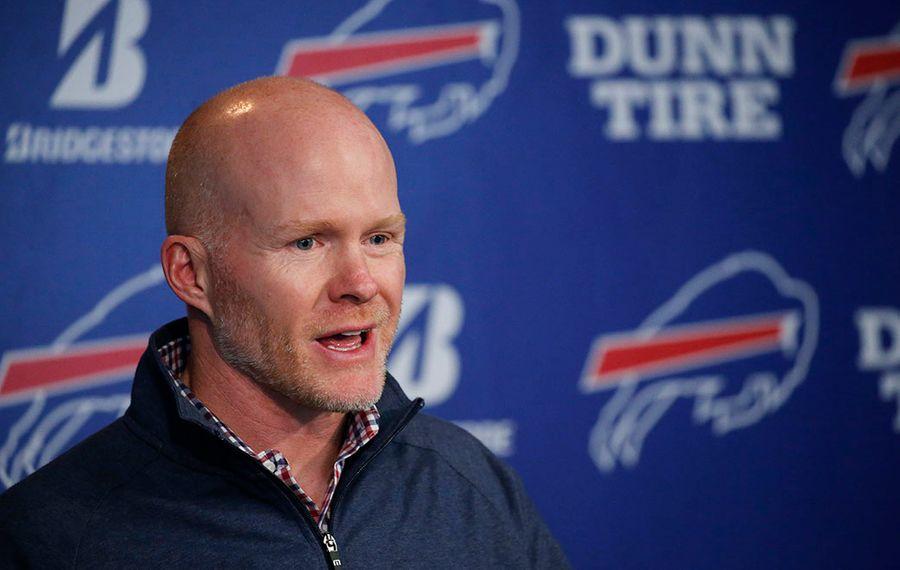 Bills head coach Sean McDermott addresses the media during the postseason news conference Tuesday. (Derek Gee/Buffalo News)