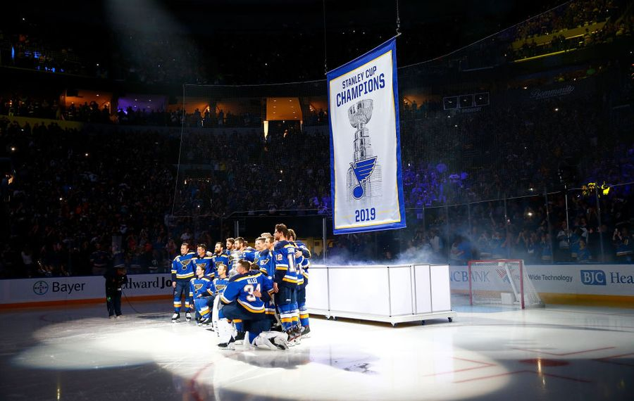 The Sabres will see the Blues' Stanley Cup banner when they play Thursday night in St. Louis' Enterprise Center. (Getty Images)