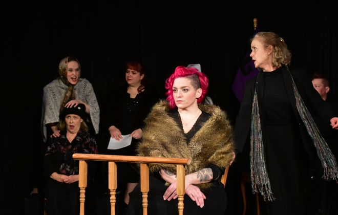 """The talented cast of """"Anastasia Trials in the Court of Women"""" includes Jamie Nablo, from left, Kathleen Rooney, Caroline Parzy-Sanders, Emily Pici, Priscilla Young-Anker and Heather Fangsrud. It is presented through Feb. 2 by Brazen-Faced Varlets. (Photo by Ryan Kaminski.)"""