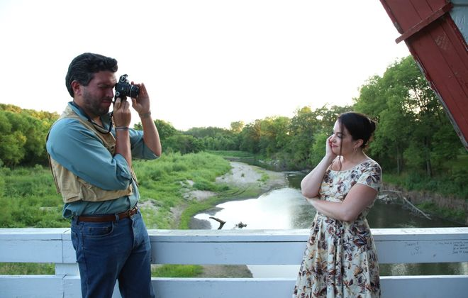 "Steve Copps and Michele Marie Benzin are pictured in Iowa, where they prepared for their roles in ""The Bridges of Madison County"" at the Kavinoky Theatre. (Photo courtesy of Brian Milbrand)"