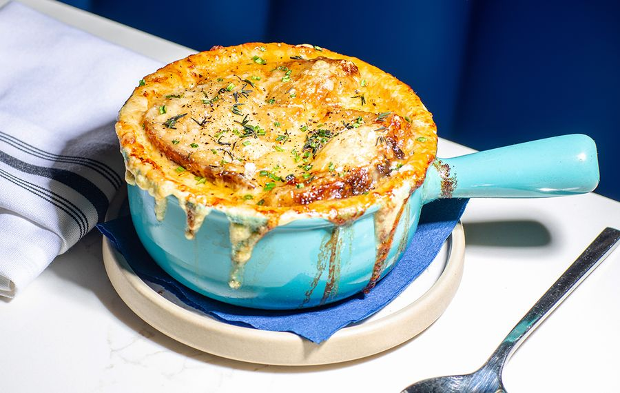 The Little Club's French onion soup, six hours in the making. (Katie Addo)
