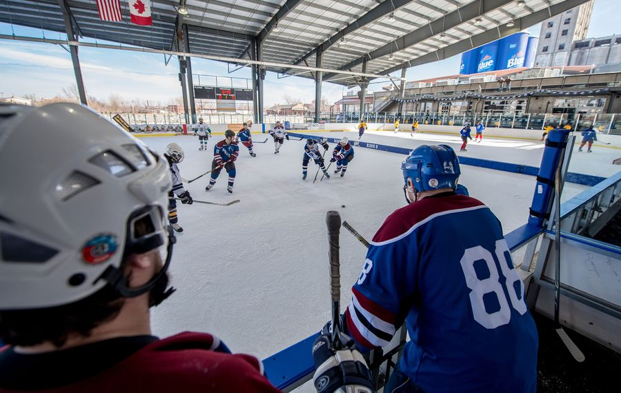 The Labatt Blue Pond Hockey Tournament Feb. 13-16 takes over all six sheets of ice at RiverWorks with 4-on-4 games using a 6-inch-tall net. (Labatt Blue)