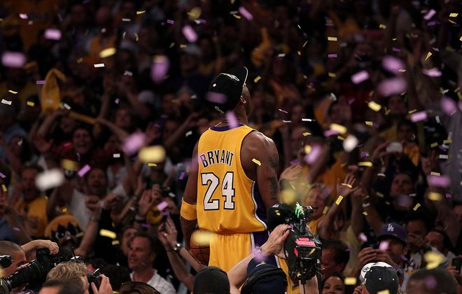 Kobe Bryant celebrates after the Lakers defeated the Boston Celtics in Game Seven of the 2010 NBA Finals at Staples Center in Los Angeles. (Getty Images file photo)