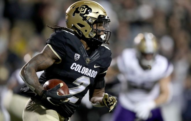 Laviska Shenault Jr. of the Colorado Buffaloes could be a first-round option for the Bills. (Matthew Stockman/Getty Images)