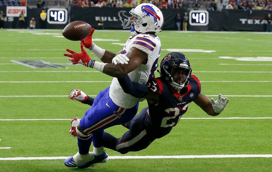 Bills wide receiver Duke Williams is unable to complete a pass over Gareon Conley of the Houston Texans at NRG Stadium on Jan. 4, 2020 in Houston, Texas. (Getty Images)