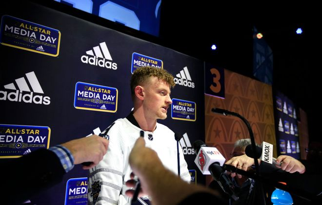 ST LOUIS, MISSOURI - JANUARY 23: Jack Eichel #9 of the Buffalo Sabres speaks to the press during Media Day for the 2020 NHL All-Star at Stifel Theatre on January 23, 2020 in St Louis, Missouri. (Photo by Justin Heiman/Getty Images)